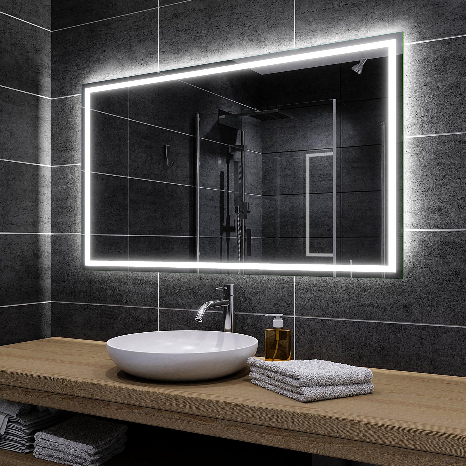 Spiegel nach Ma/ß Wei/ß kalt, Breite 60cm X H/öhe 40cm Alasta Spiegel Madrit Badspiegel mit LED Beleuchtung Wandspiegel Badezimmerspiegel